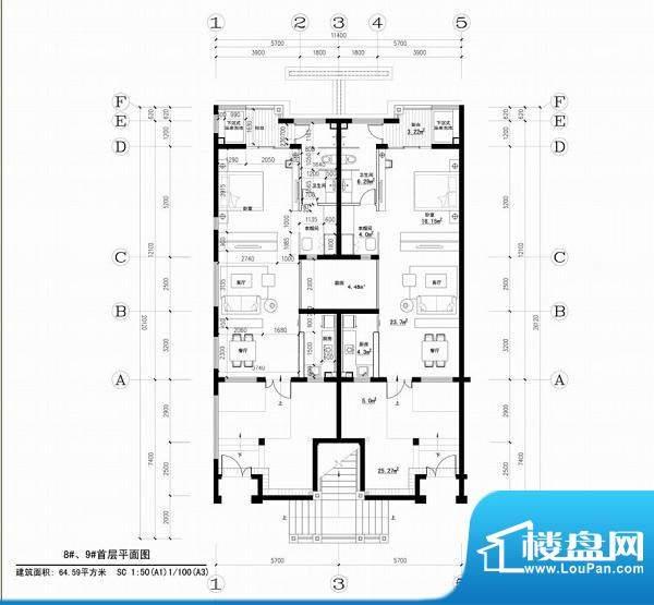 海阔天空子爵公馆五面积:64.59平米