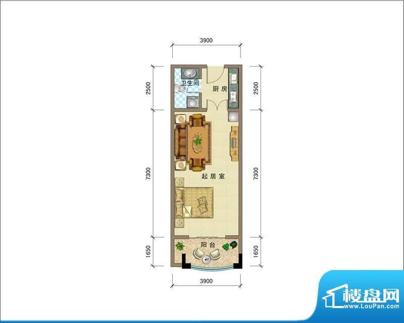 滨海公馆A、J座公寓面积:40.00平米