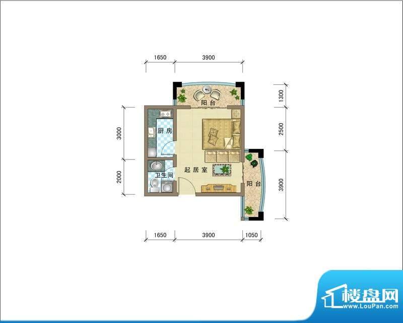 滨海公馆AJ座D户型 面积:43.90平米