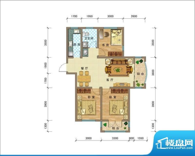 滨海公馆FLK座A户型面积:103.01平米