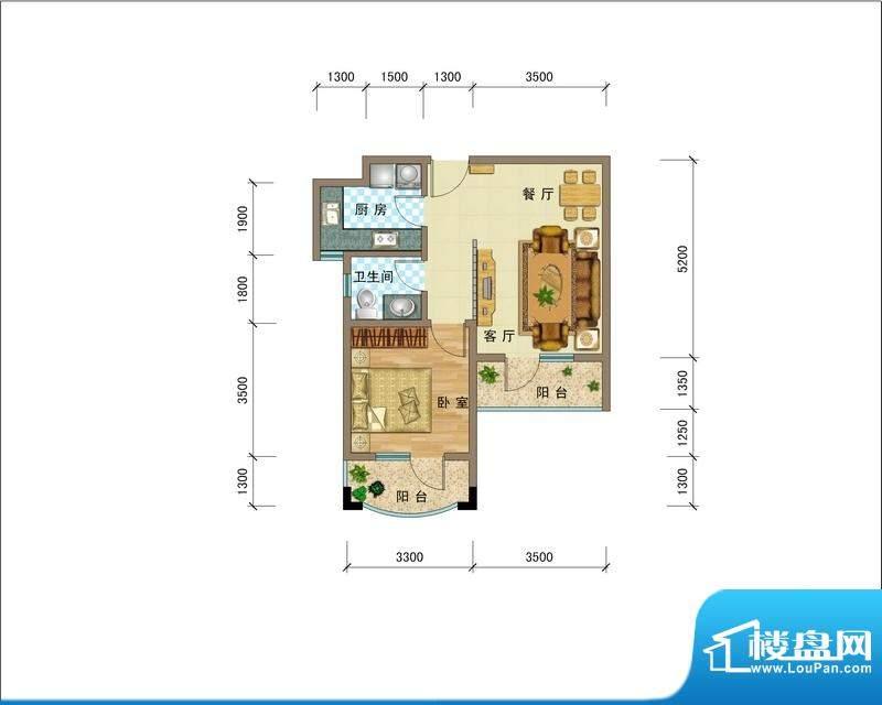 滨海公馆BMN座B户型面积:64.62平米