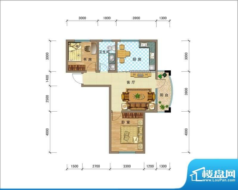 滨海公馆BMN座A户型面积:82.48平米