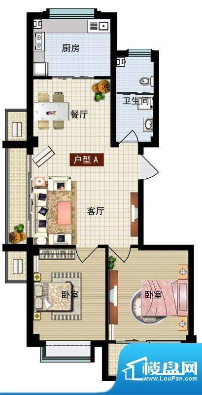 润鼎家园1#2#楼A户型面积:93.96平米