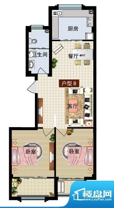 润鼎家园1#2#楼B户型面积:91.85平米