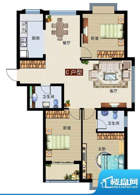 润鼎家园3#楼C户型图面积:134.37平米