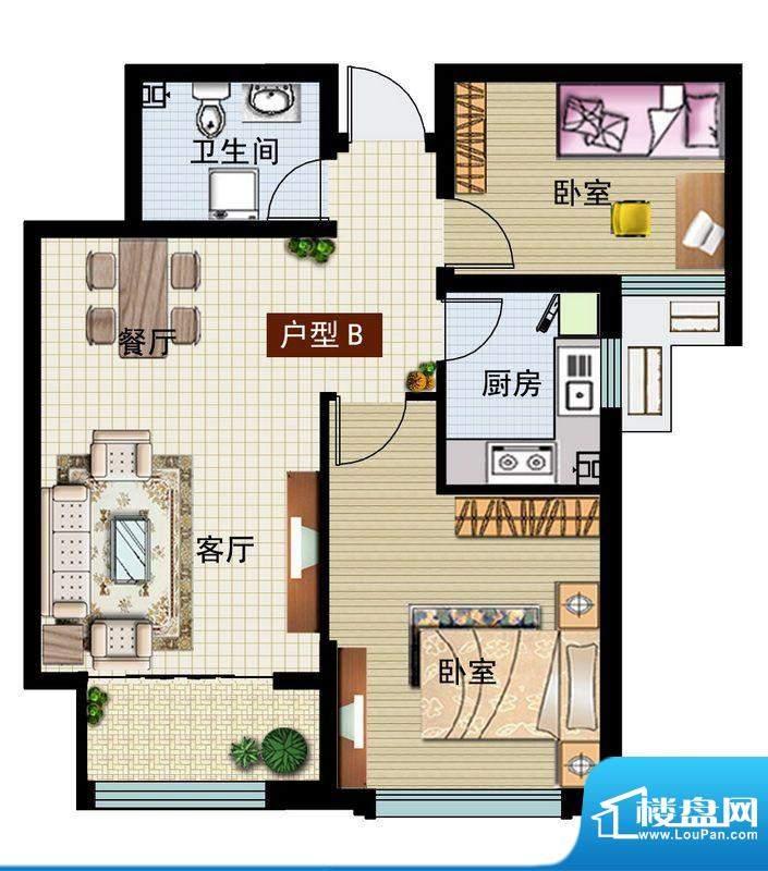 润鼎家园3#楼B户型图面积:86.15平米