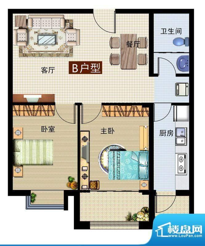 润鼎家园4#楼B户型图面积:90.21平米
