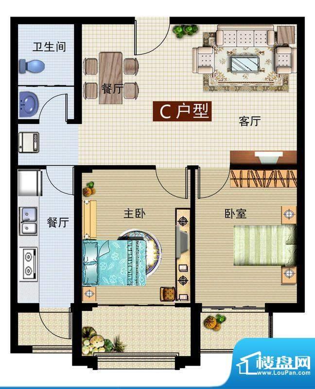 润鼎家园4#楼C户型图面积:91.89平米