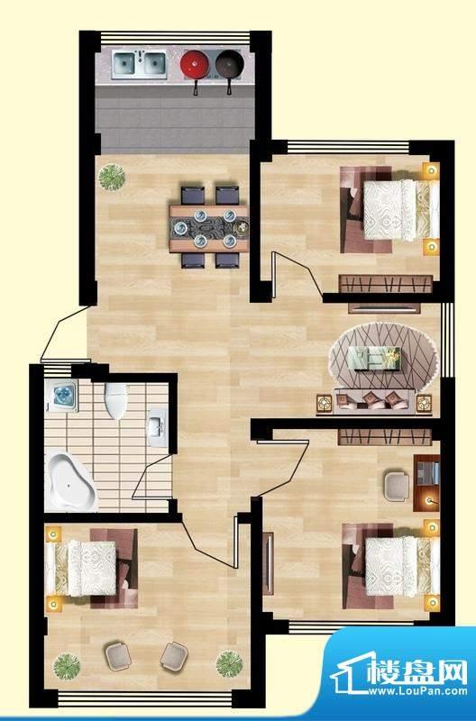 观山名筑A户型图 3室面积:102.44平米