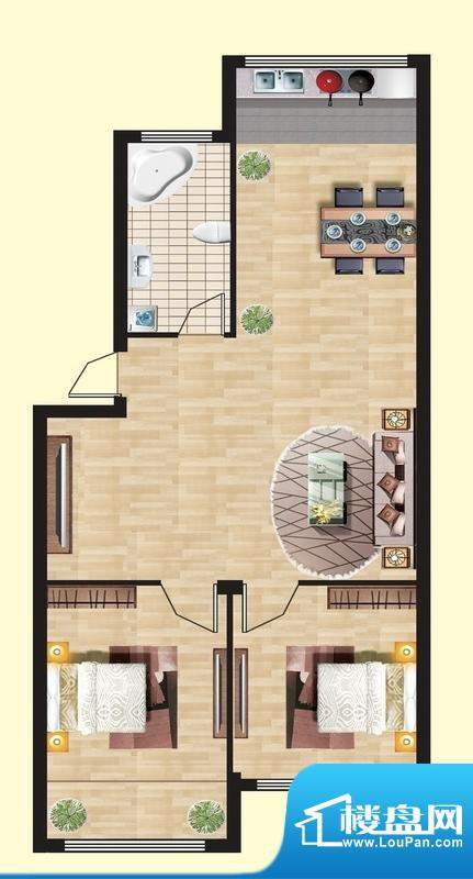 观山名筑C户型图 2室面积:82.45平米