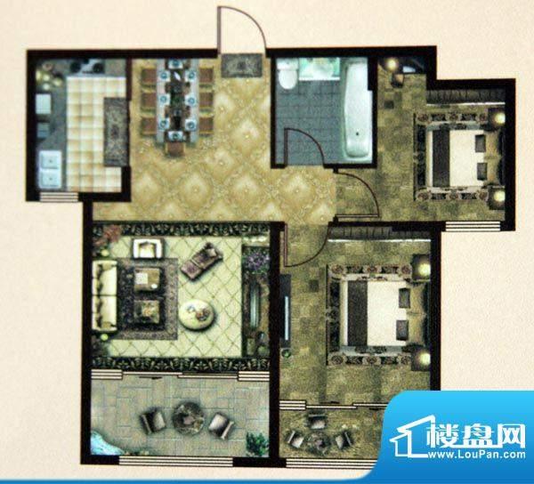 大成门B户型图 2室2面积:94.00平米