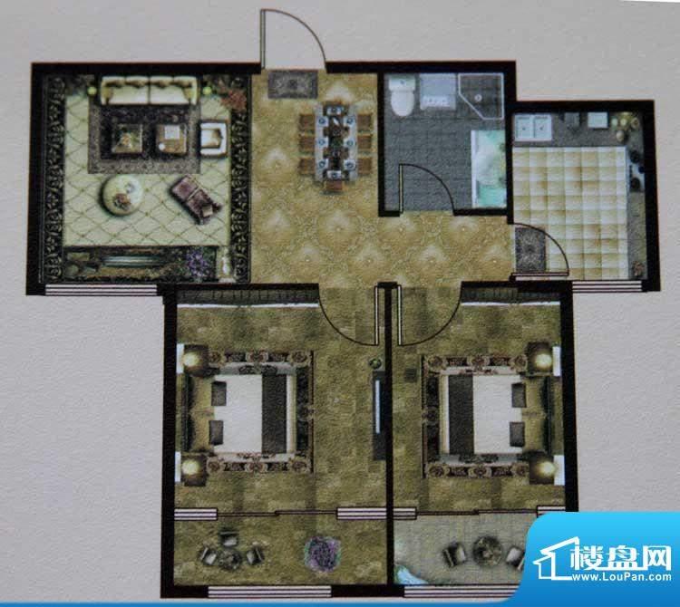 大成门E户型图 2室2面积:85.88平米