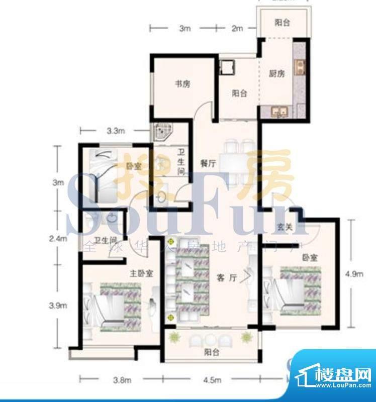 锦林山庄J户型四室两面积:0.00平米
