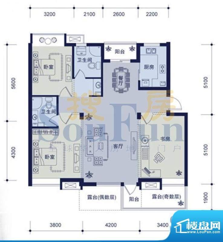 锦林山庄三室两厅两面积:0.00平米