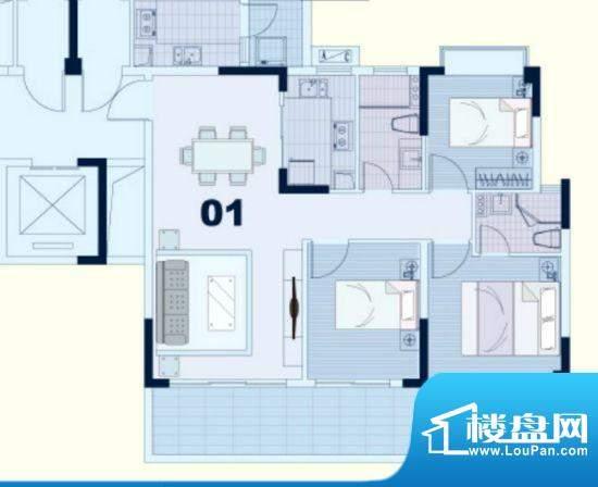 东凌广场B1栋01户型面积:90.00平米