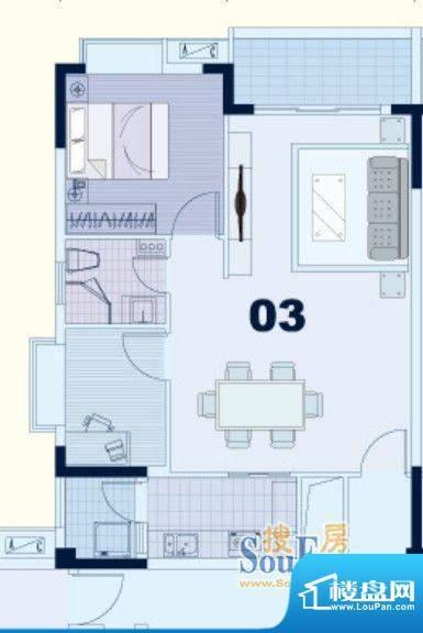 东凌广场B1栋03户型面积:74.00平米