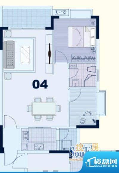 东凌广场B1栋04户型面积:73.00平米