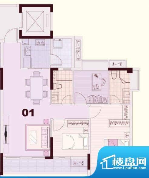 东凌广场C1栋01户型面积:90.00平米