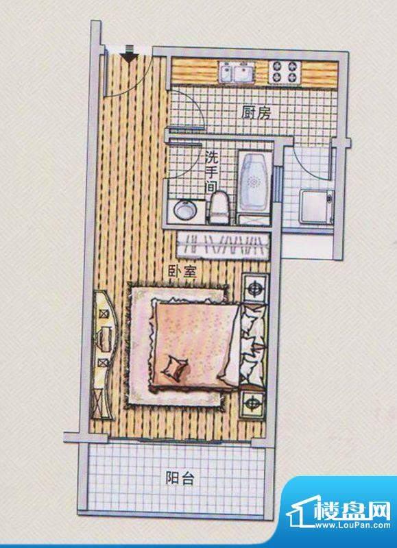 潭村改造项目A户型 面积:45.50平米