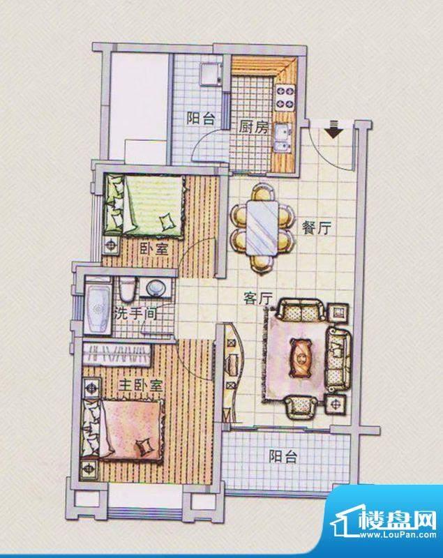 潭村改造项目B户型 面积:72.90平米