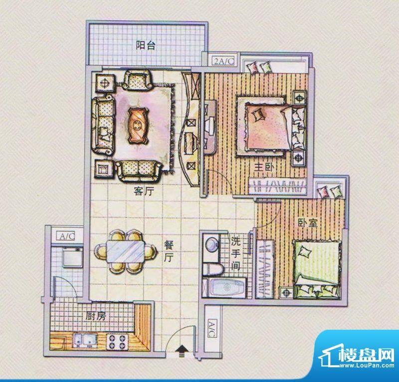 潭村改造项目D户型 面积:92.50平米