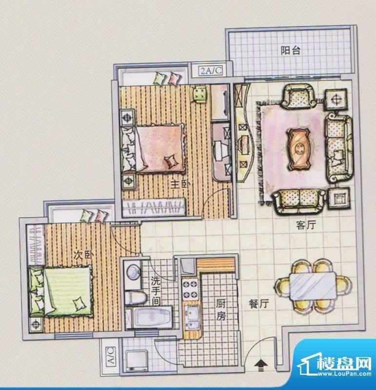 潭村改造项目E户型 面积:93.80平米