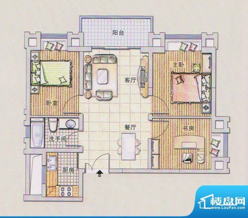 潭村改造项目F户型 面积:75.60平米