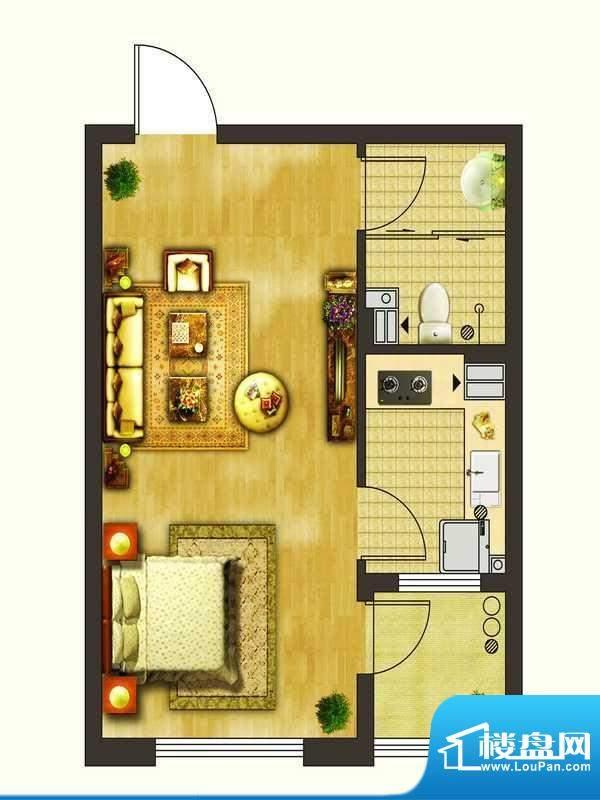 楚盛现代城C2户型图面积:47.50平米