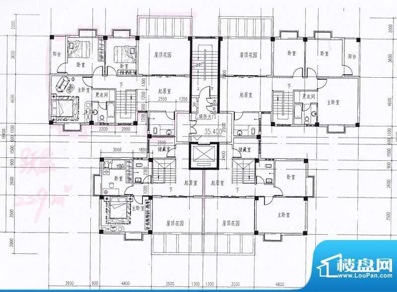 西岭华庭整层户型图面积:72.21平米