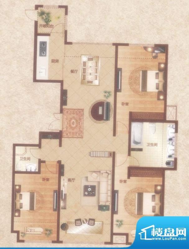 暖山国际城C户型 3室面积:185.00平米