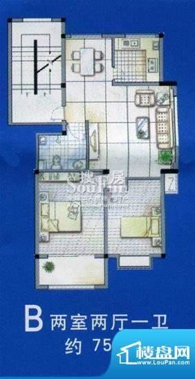 北海新城户型图 2室面积:75.00平米