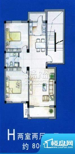 北海新城户型图 2室面积:80.00平米