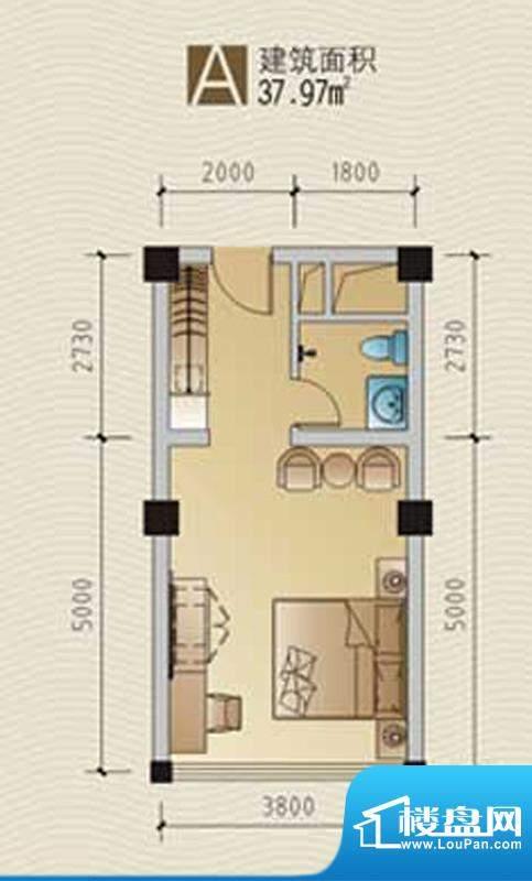 林海温泉居A户型 1室面积:39.97平米