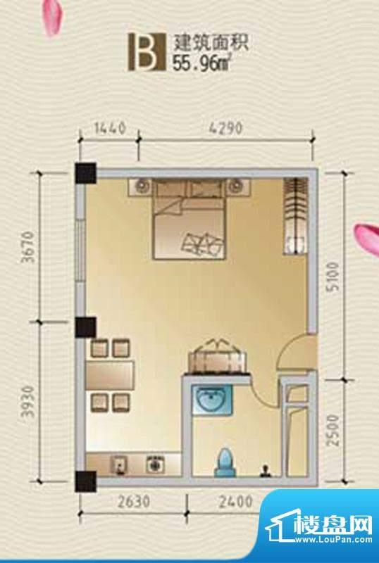 林海温泉居B户型 1室面积:55.96平米