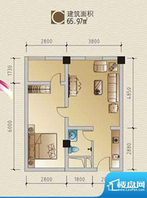 林海温泉居C户型 1室面积:65.97平米