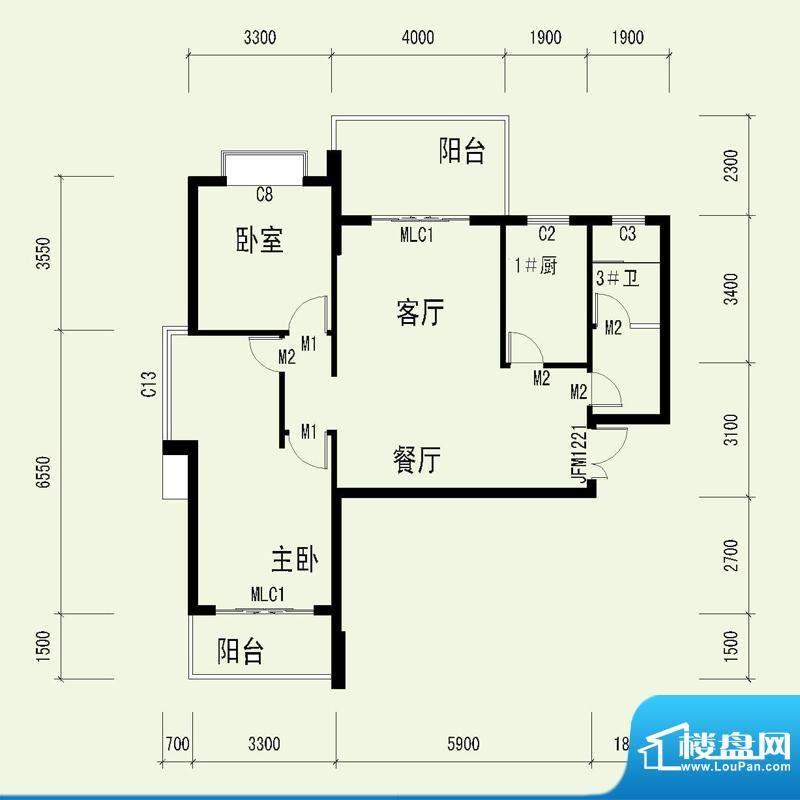 国奥天地3号楼2单元面积:102.35平米