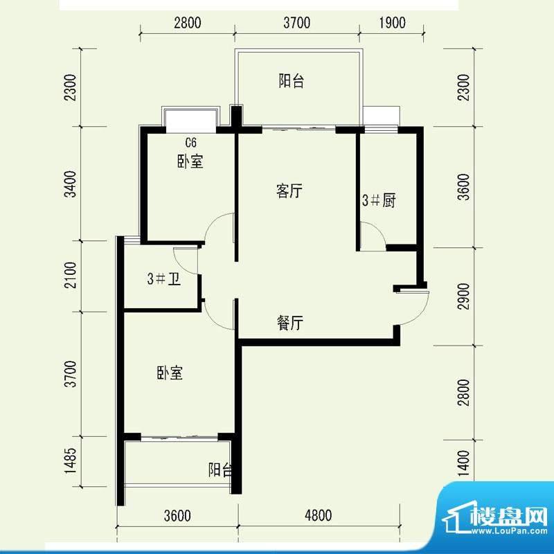 国奥天地1号楼1单元面积:104.26平米