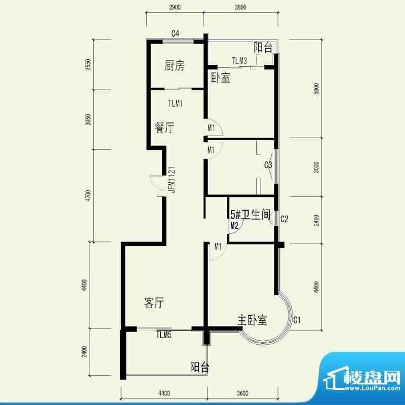 国奥天地2号楼1单元面积:122.83平米