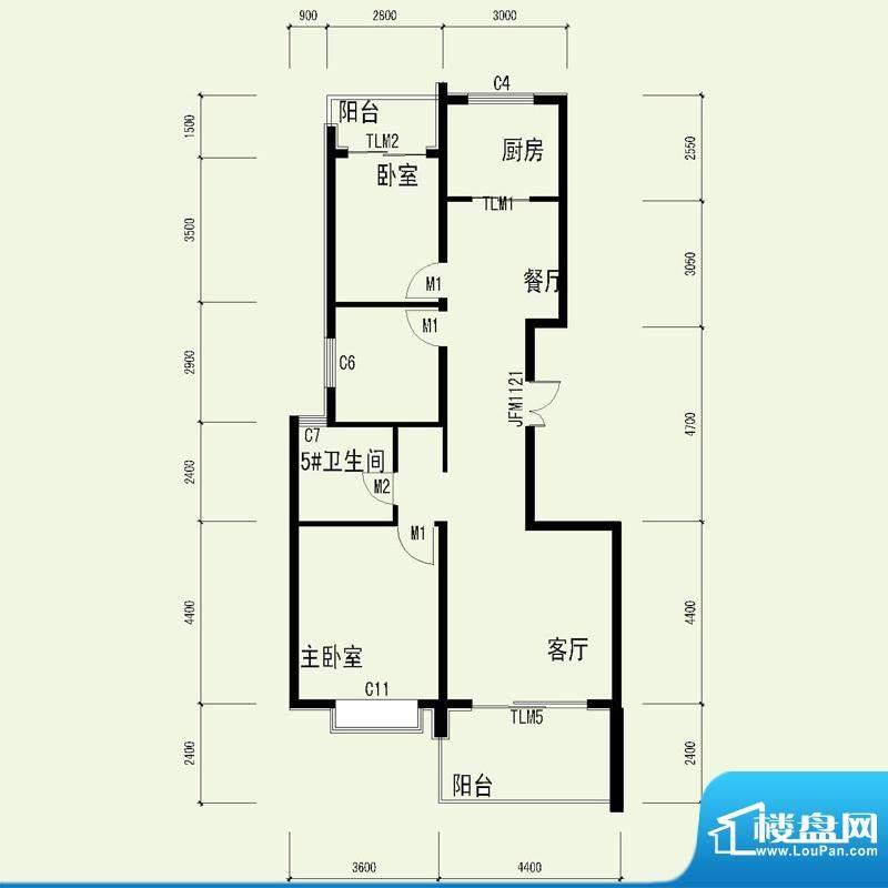 国奥天地2号楼1单元面积:111.55平米
