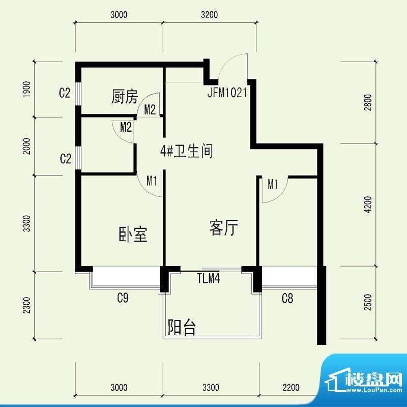 国奥天地2号楼4单元面积:67.48平米