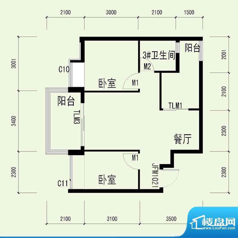 国奥天地2号楼4单元面积:64.66平米