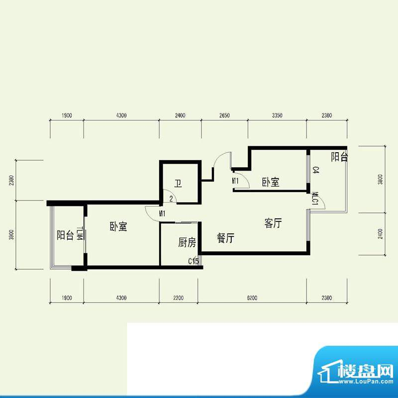 国奥天地2号楼5单元面积:86.11平米