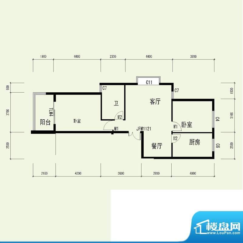 国奥天地2号楼5单元面积:94.56平米