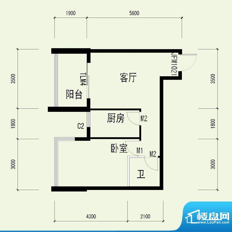 国奥天地2号楼5单元面积:55.51平米