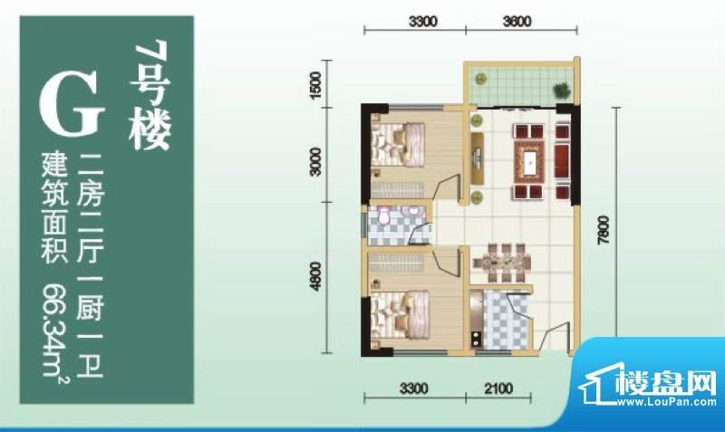 珉华百花苑7#B1、E1面积:66.34平米