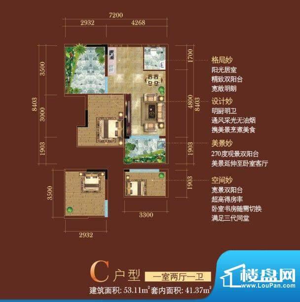 日月星城C户型 1室2面积:53.11平米