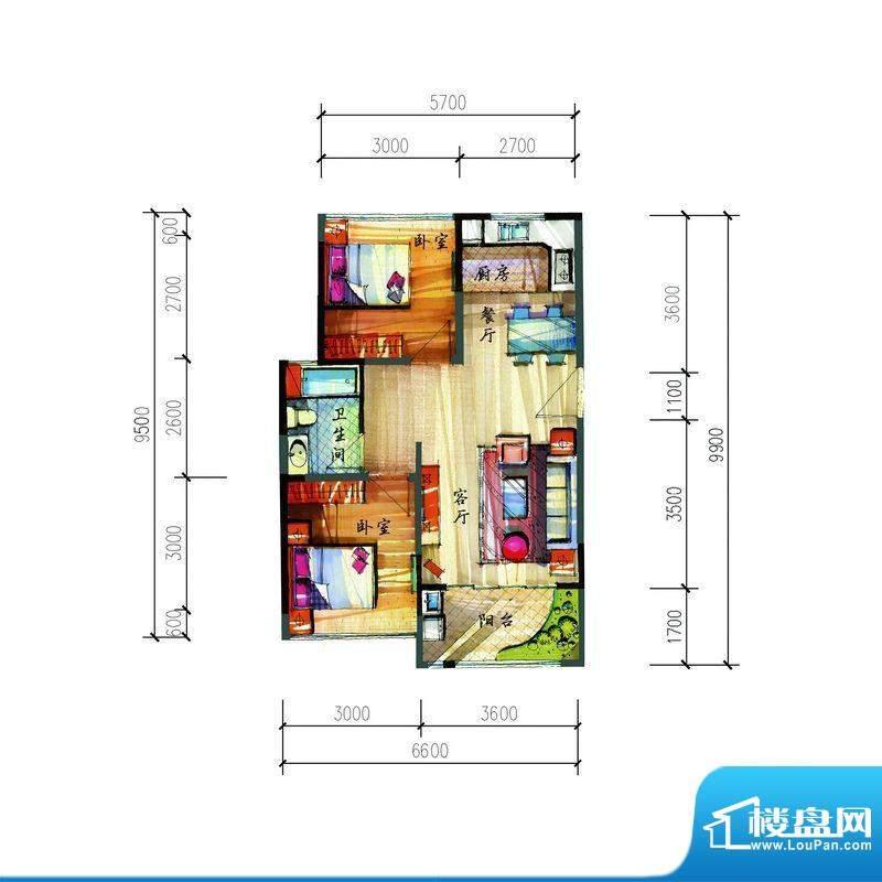 宝安公园家A户型 2室面积:68.90平米