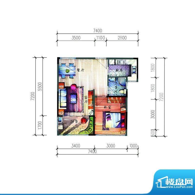 宝安公园家B户型 1室面积:55.42平米