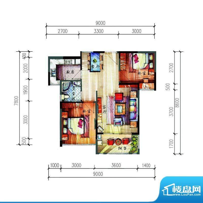 宝安公园家C户型 2室面积:66.23平米