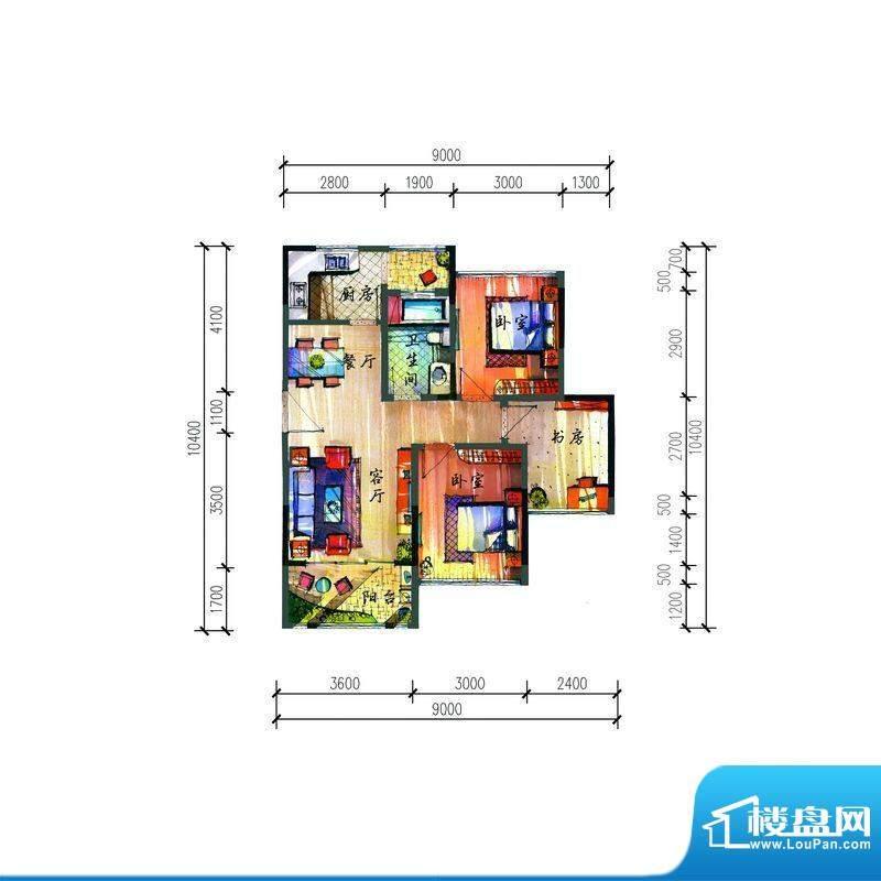 宝安公园家D户型 3室面积:83.30平米